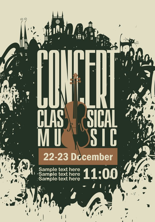 Classical Music Concert Posters Awesome Classical Music Retro Concert Poster Template 05 Vector