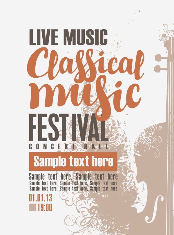 Classical Music Concert Posters Inspirational Classical Music Retro Concert Poster Template 07 Free