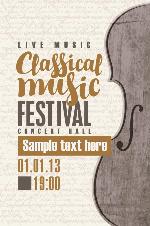 Classical Music Concert Posters Inspirational Classical Music Retro Concert Poster Template 12 Free