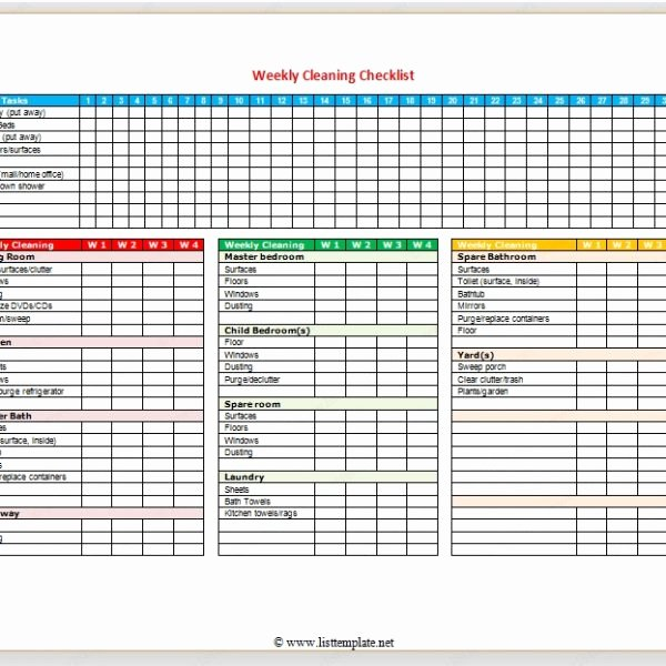 Cleaning Checklist Template Word Awesome Weekly Cleaning Checklist for Word – List Templates with
