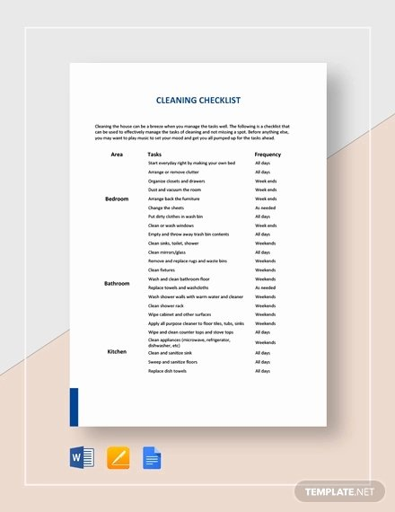Cleaning Checklist Template Word Beautiful House Cleaning Checklist 17 Pdf Word Documents