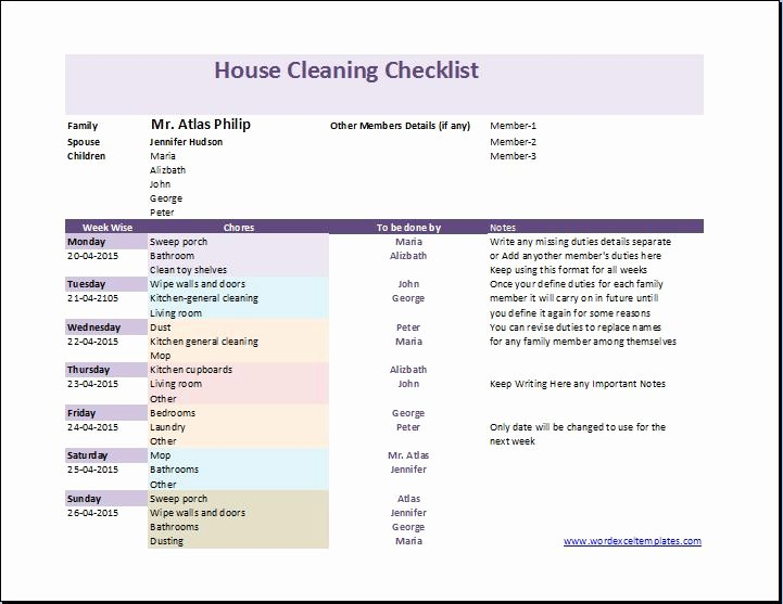 Cleaning Checklist Template Word Fresh My House Cleaning Checklist Template