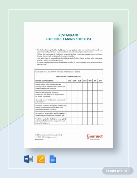 Cleaning Checklist Template Word New Restaurant Kitchen Cleaning Checklist Template Download