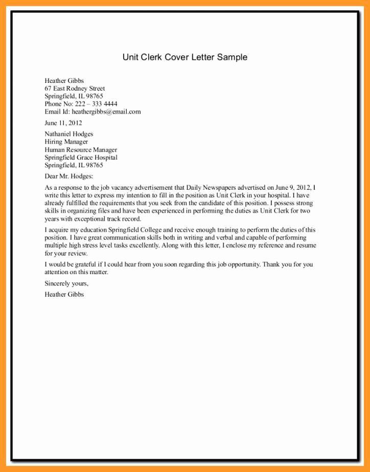 Clerical Cover Letter Examples Beautiful 12 13 Unit Clerk Cover Letter Sample
