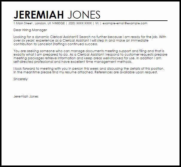 Clerical Cover Letter Examples Beautiful Clerical assistant Cover Letter Sample