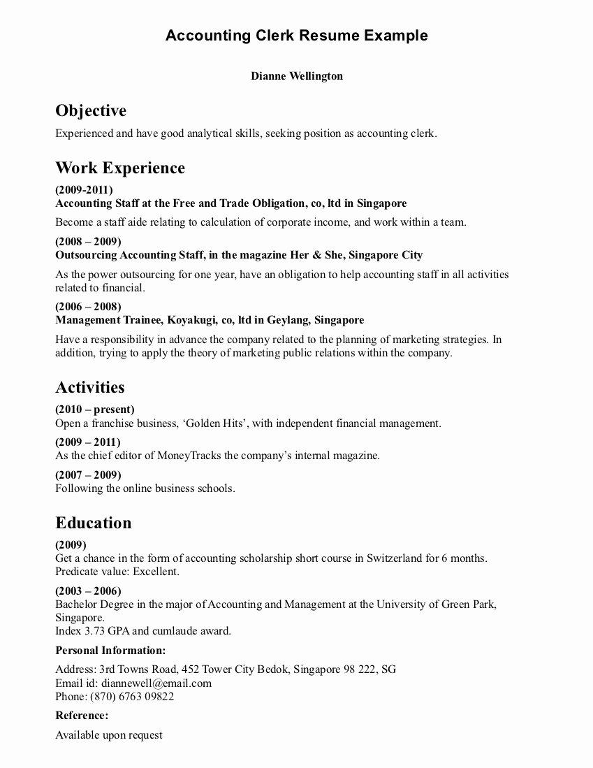 Clerical Cover Letter Examples Elegant Accountant Lamp Picture Accounting Clerk Resume Samples