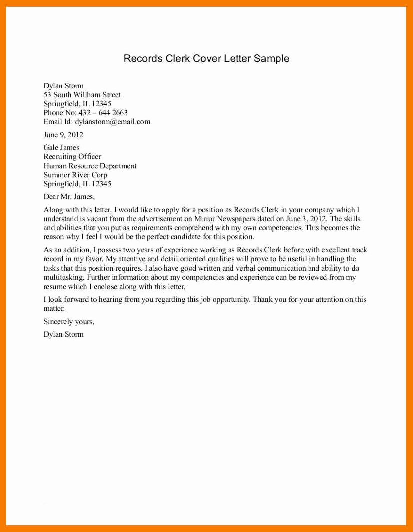 Clerical Cover Letter Examples Fresh 12 13 Sample Cover Letters for Clerical Positions