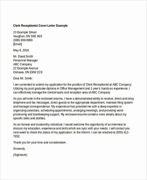 Clerical Cover Letter Examples Fresh Clerical Resume Sample Think About the order Of Writing