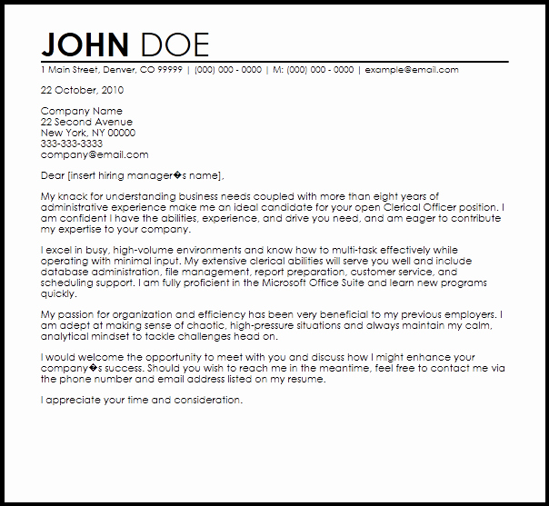 Clerical Cover Letter Examples New Free Clerical Ficer Cover Letter Templates