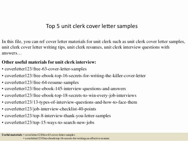 Clerical Cover Letter Examples New top 5 Unit Clerk Cover Letter Samples