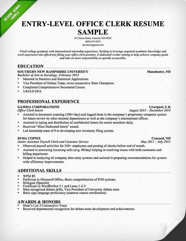 Clerical Cover Letter Examples Unique Entry Level Fice Clerk Resume Template
