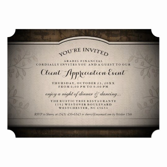 Client Appreciation Invitation Wording Best Of Client Appreciation event Custom Rustic Invitation
