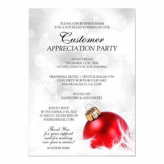 Client Appreciation Invitation Wording Elegant Elegant Holiday Customer Appreciation Party Invite