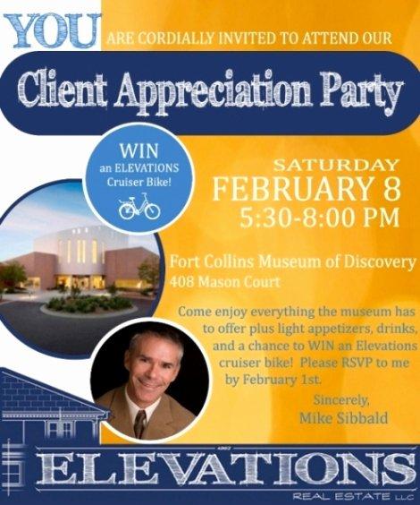 Client Appreciation Invitation Wording Elegant Elevations Real Estate Llc S Client Appreciation Party
