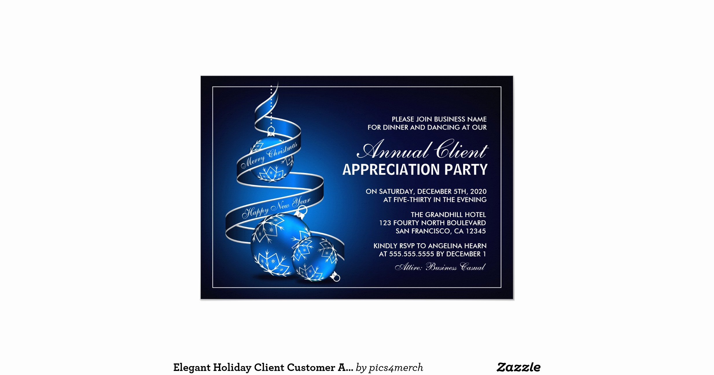 Client Appreciation Invitation Wording Fresh Elegant Holiday Client Customer Appreciation Party 5x7