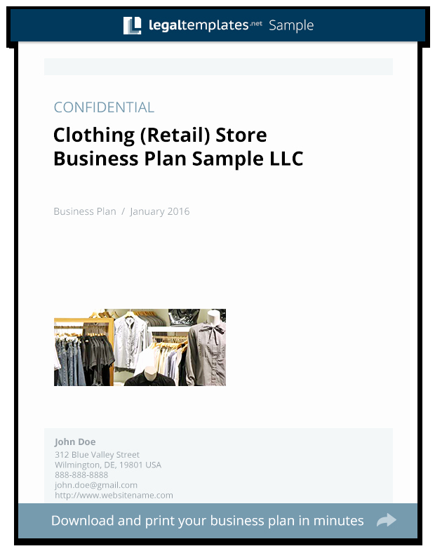 Clothing Line Business Plan New Clothing Retail Store Business Plan Sample