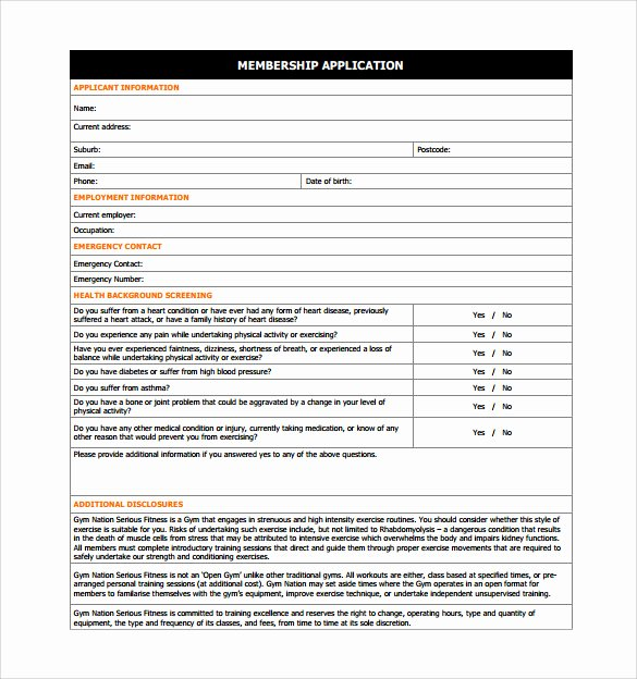 Club Membership Application Template Awesome 11 Gym Contract Templates Pages Word Docs