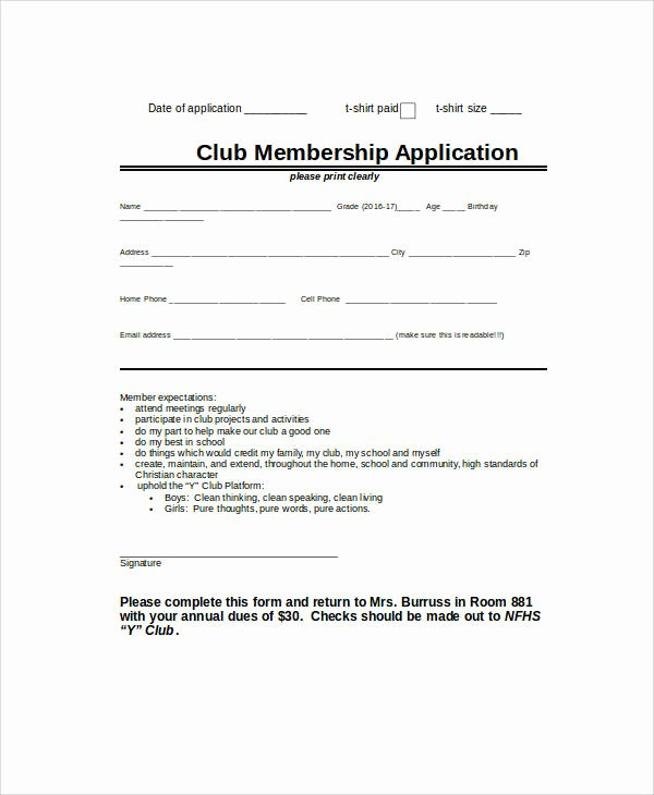 Club Membership Application Template Elegant 33 Application Templates In Word
