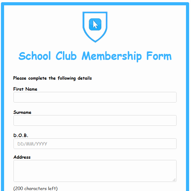 Club Membership Application Template Elegant formwize Examples