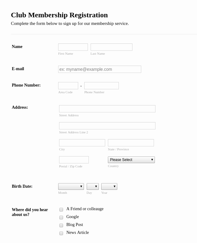 Club Membership Application Template Inspirational Registration forms form Templates