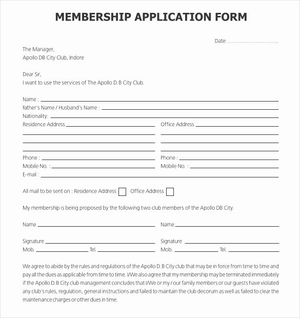 Club Membership Application Template Lovely 15 Application Templates Free Sample Example format