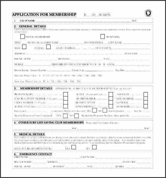 Club Membership Application Template Luxury 10 Membership Application form Template Sampletemplatess