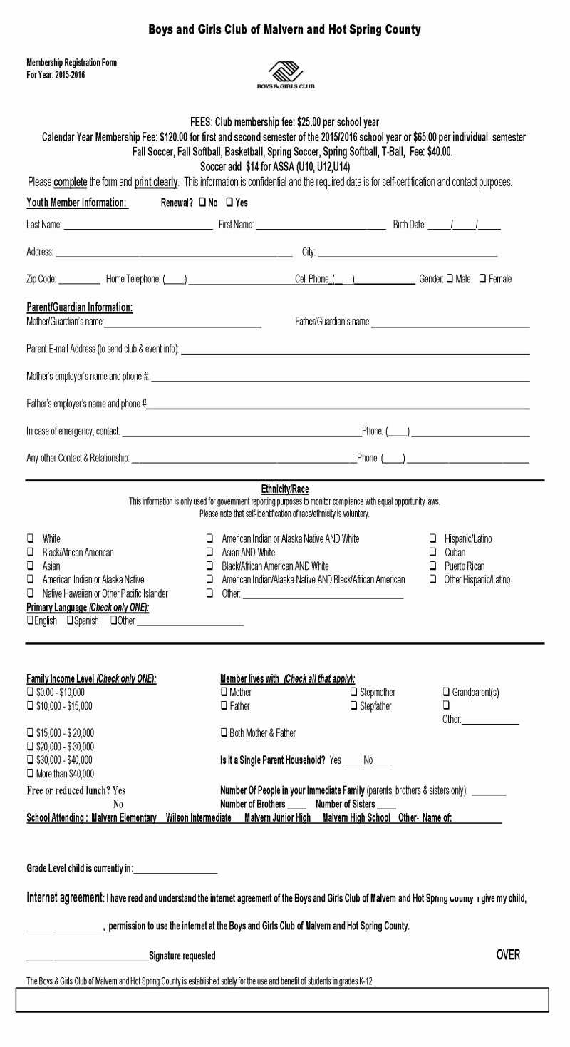 Club Membership Application Template Unique Boys and Girls Clubs Of Malvern and Hot Spring County
