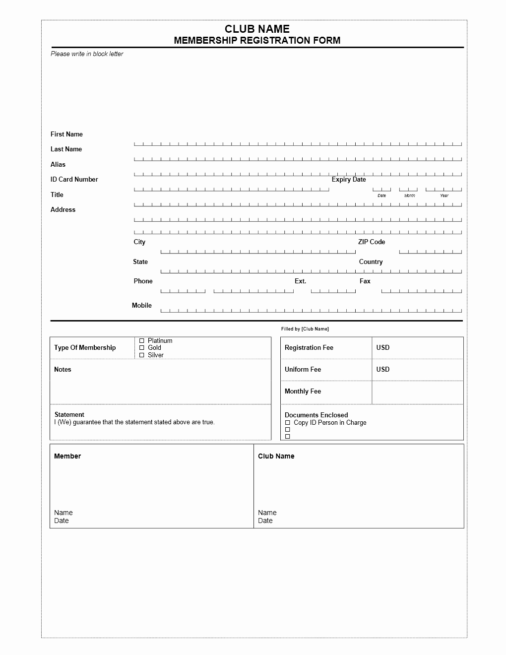 Club Membership Application Template Unique Club Membership Application form