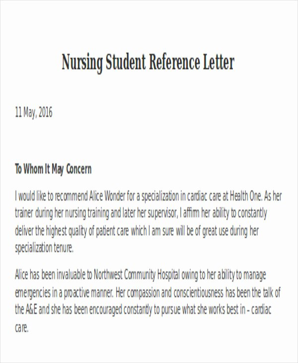 Cna Letter Of Recommendation Awesome Nursing Reference Letter Templates 12 Free Word Pdf