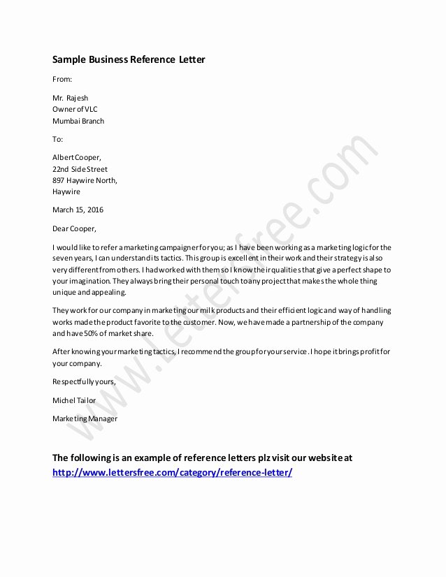 Cna Letter Of Recommendation Elegant Business Reference Letter Example