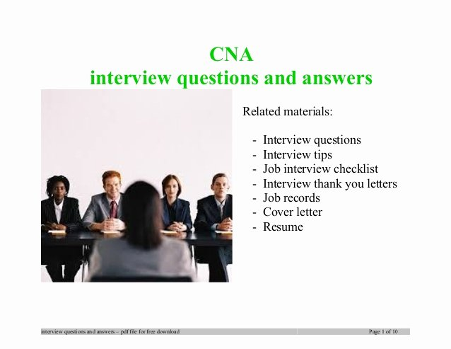 Cna Letter Of Recommendation Lovely Cna Interview Questions and Answers