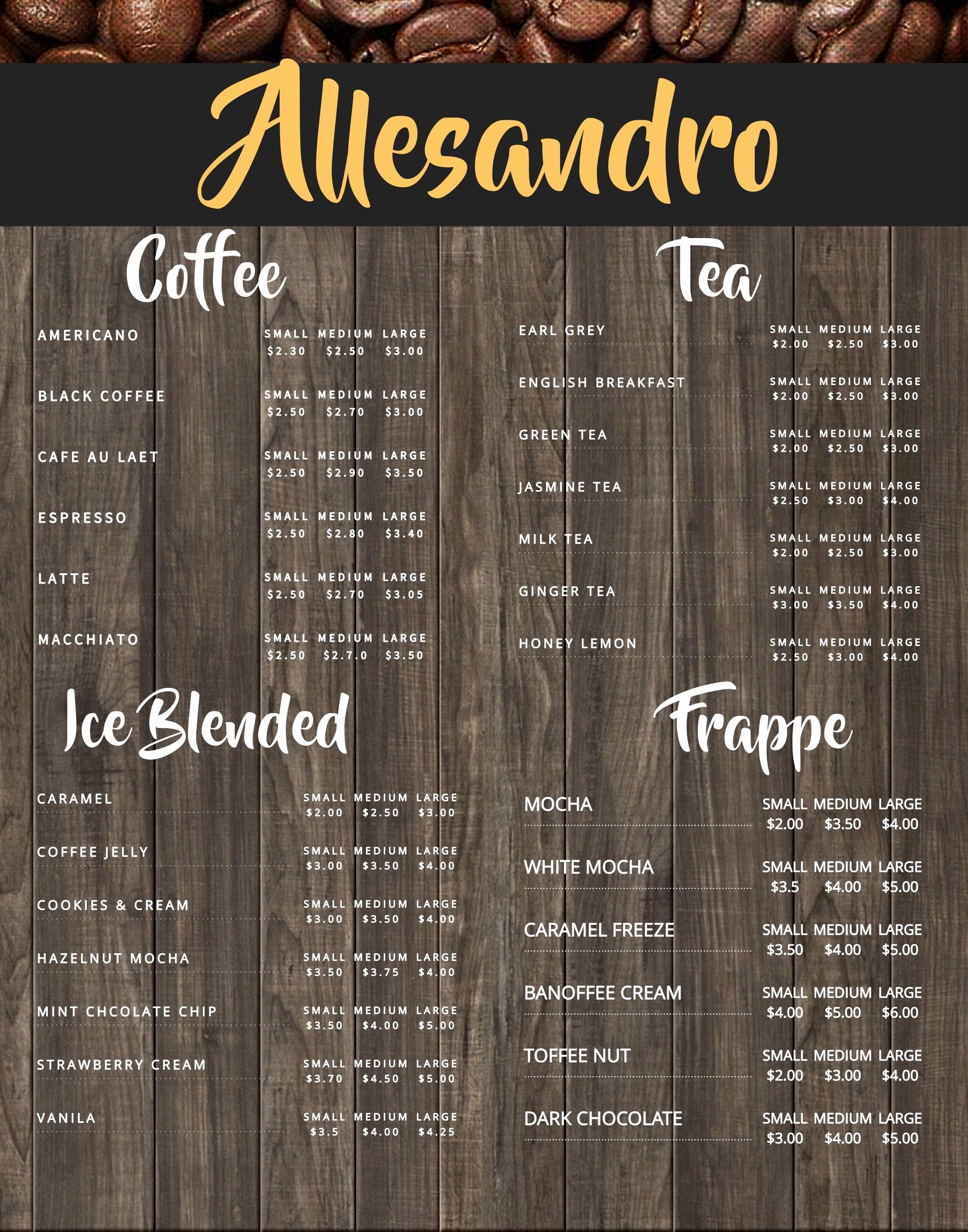 Coffee Shop Menu Template Awesome Coffee Shop Menu Board Design Template to Customize