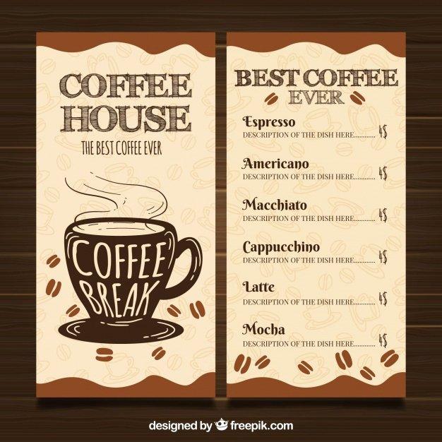 Coffee Shop Menu Template Awesome Restaurante Menu Template with Coffee Shop Vector