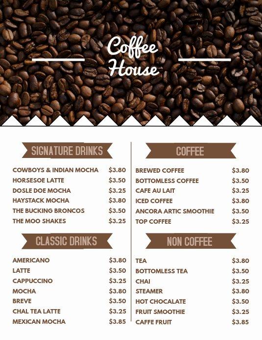Coffee Shop Menu Template Beautiful Coffee Menu Flyer Template