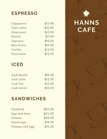 Coffee Shop Menu Template Beautiful Customize 84 Cafe Menu Templates Online Canva