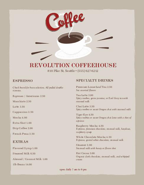 Coffee Shop Menu Template Best Of Urban Coffee Menu