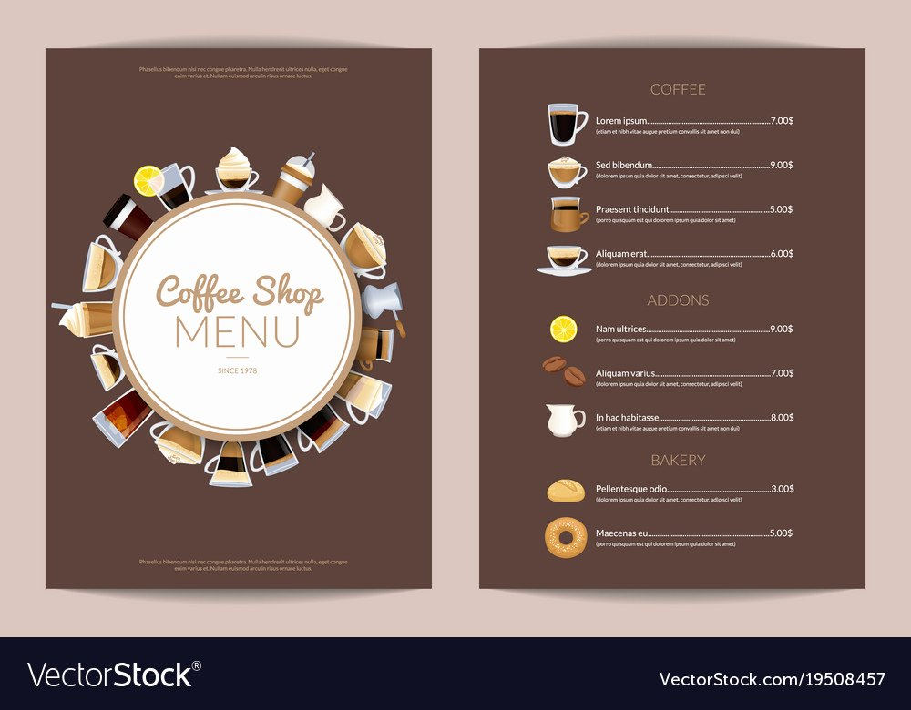 Coffee Shop Menu Template Fresh Coffee Shop Vertical Menu Template Royalty Free Vector Image
