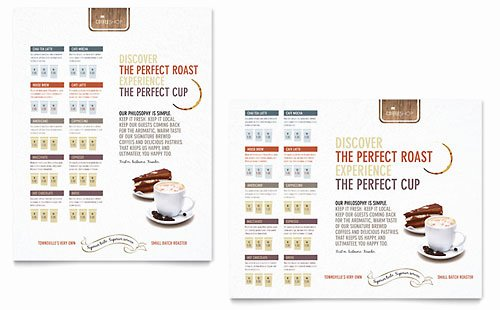 Coffee Shop Menu Template Inspirational Coffee Shop Menu Template Design
