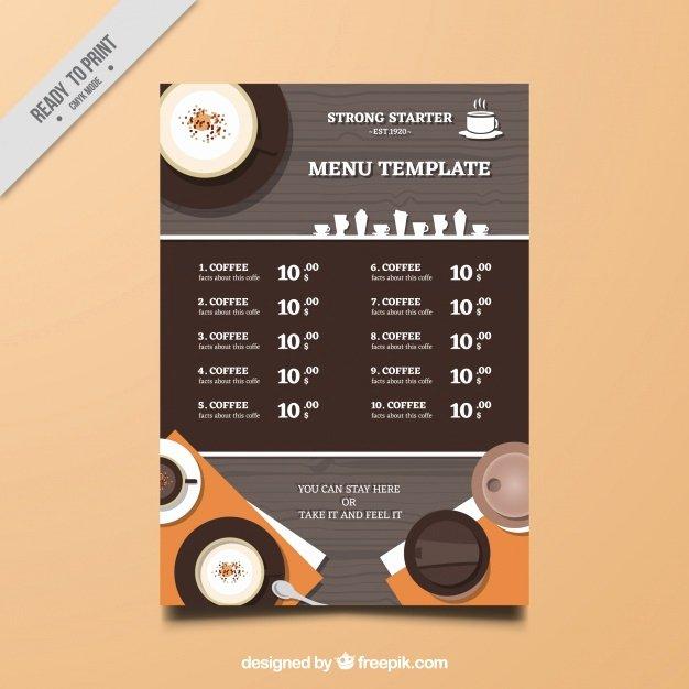 Coffee Shop Menu Template Lovely Coffee Shop Menu Template Vector