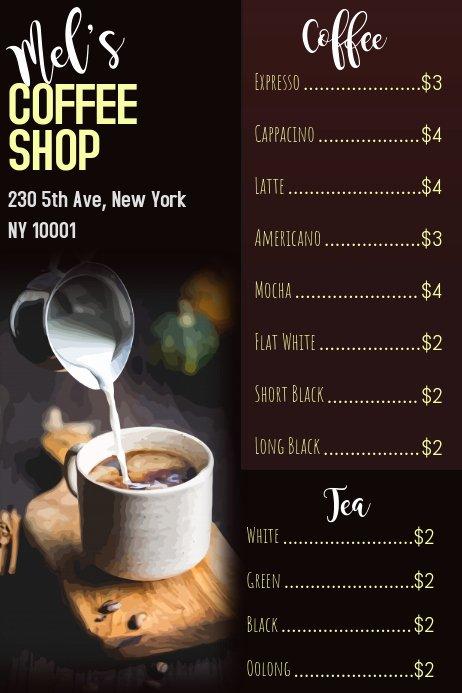 Coffee Shop Menu Template Luxury Coffee Shop Menu Template