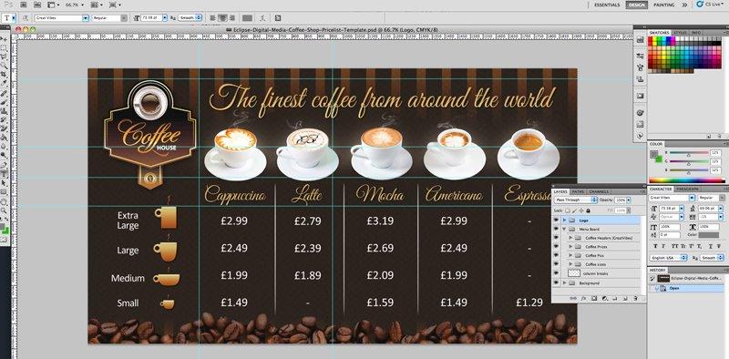 Coffee Shop Menu Template Unique Coffee Shop Version 2 Menu Board Psd Template