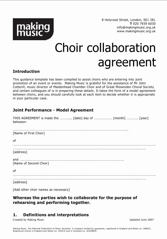 Collaboration Agreement Template Doc Luxury Choir Collaboration Agreement Template