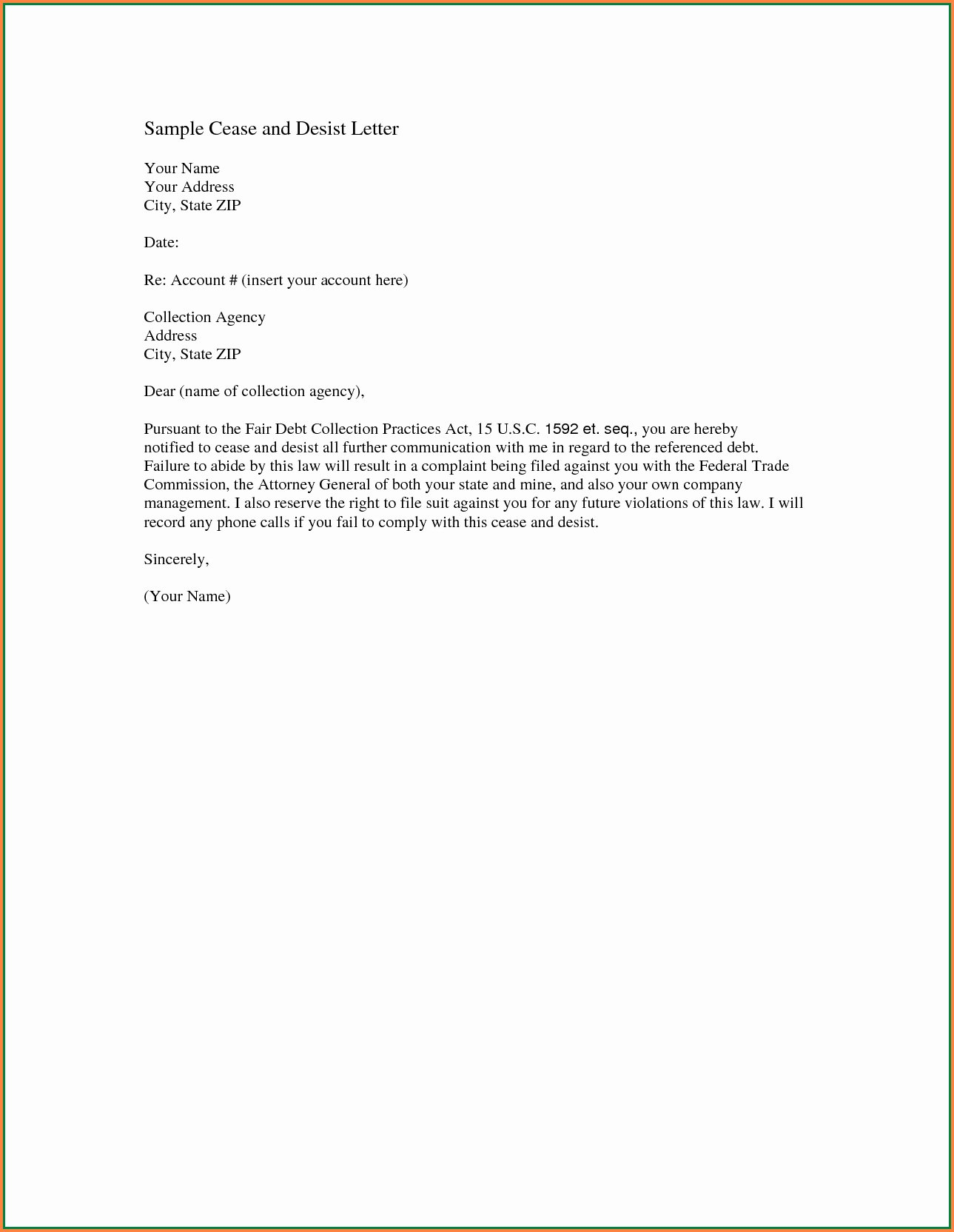 Collection Letter Template Free Best Of Cease and Desist Letter Template Amazon Collection