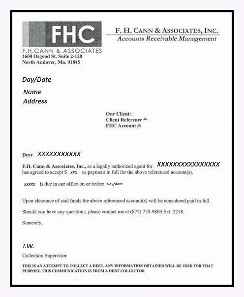 Collection Letter to Customer Awesome F H Cann & associates False Debt Claim