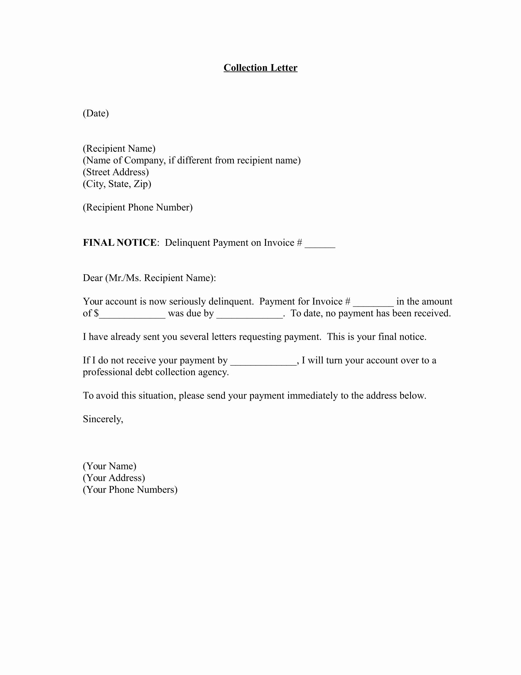 Collection Letter to Customer Best Of Letter formats Download Free Business Letter Templates