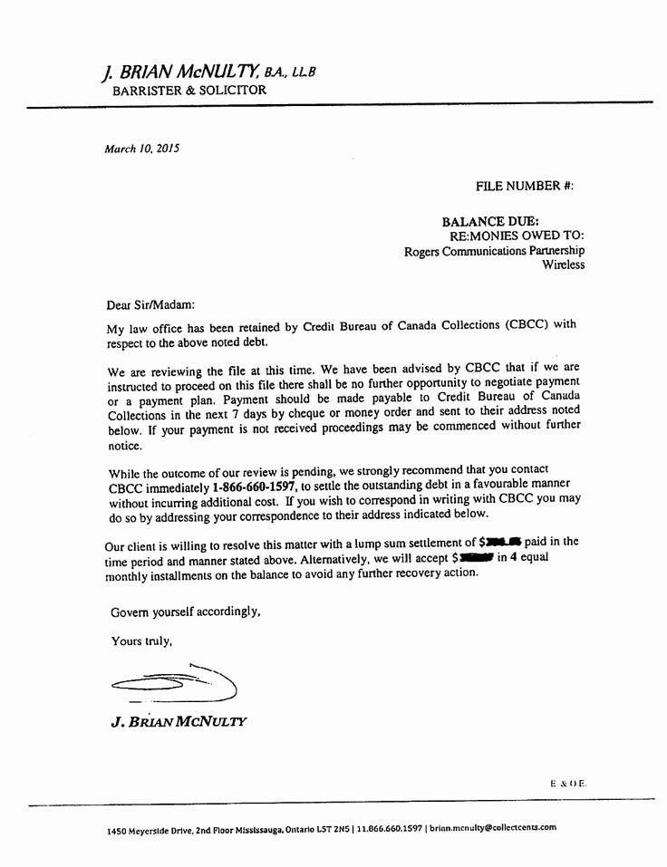 Collection Letters to Clients Lovely Collection Lawyer Brian Mcnulty Owes the Public An