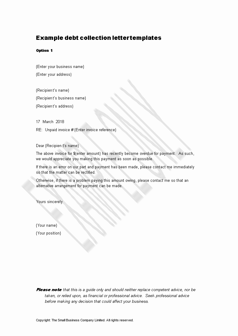 Collection Letters to Customers Elegant Debt Collection Letter Sample