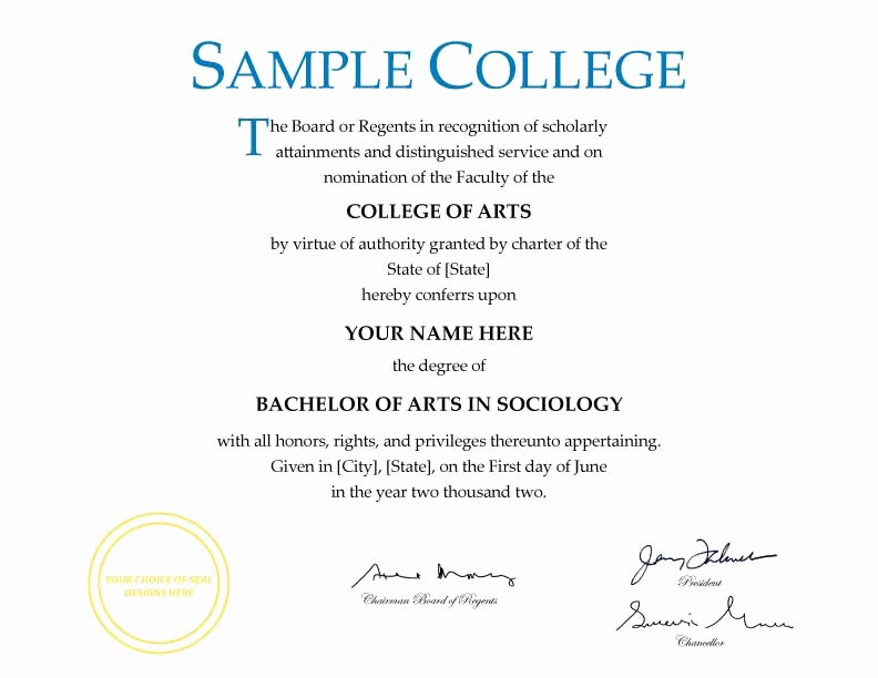 College Degree Certificate Templates Beautiful Fake Diplomas