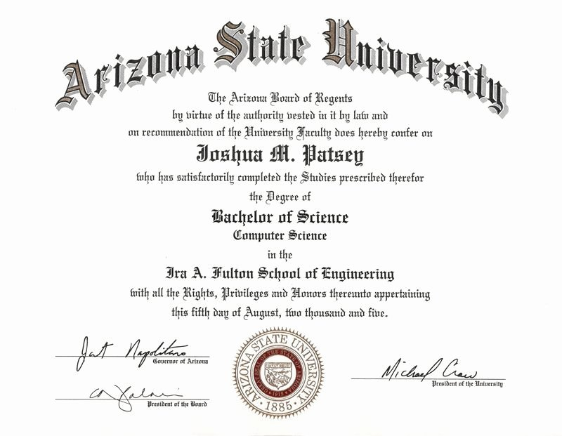 College Degree Certificate Templates Beautiful Printable College Diploma Template asu