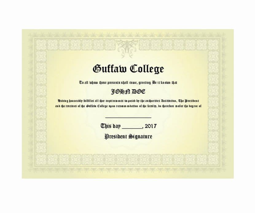 College Degree Certificate Templates Fresh 30 Real & Fake Diploma Templates High School College